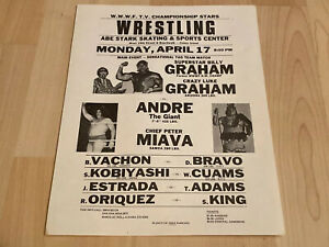Andre The Giant 1970s Wrestling Event Sign ORIGINAL Billy &  Luke Graham
