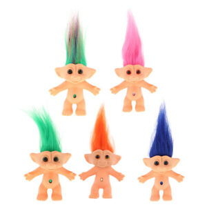 5 Pieces Mini Troll Doll Original Figures Toy Cake Toppers Dollhouse Decor