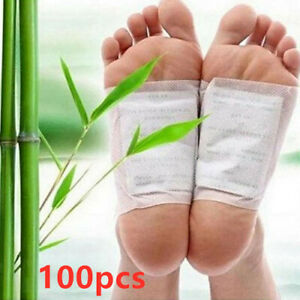 100 Kinoki Detox Foot Patches Pads Body Toxins Feet Slimming Cleansing Herbal UK