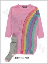 New Girls Pink Jumper Dress Set Age 2-3 Years Rainbow Dress & Matching Tights