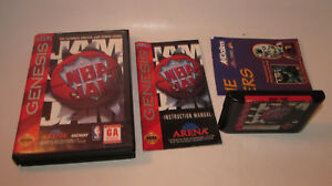 NBA Jam (Sega Genesis, 1994) Complete CIB Fun Basketball Game w/ POSTER