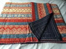 Ethnic Bedspread Ralli QueenSIze Vintage Kantha Quilt Indian Handmade Blanket-YZ