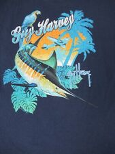 Guy Harvey 2-SIDED Bolsillo Camiseta Avión Palmeras Loro FISH-XL Navy Azul D1698