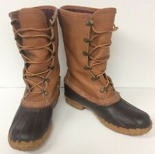 "Women's LL Bean Boots Gortex Thinsulate Classic Duck 8"" Sz 6 M Leather/ Rubber"
