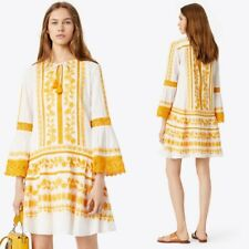 Tory Burch Lace Embroidered Gabriella Dress Yellow  Size 6 NWT $498