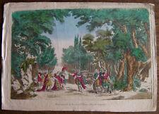 Gravure aquarellée XVIIIème sur vergé filigrané etching engraving stampa