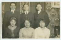 RPPC Portrait of 3 Couples, Guys Girls Men Women Victorian Real Photo Postcard