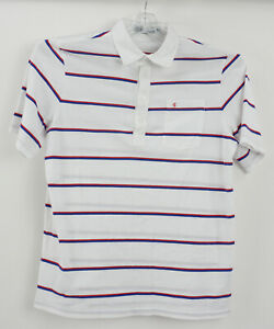 Criquet Mens Large White Red Blue Striped Organic Cotton Players Polo Golf Shirt