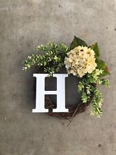 Farmhouse Style Decor Spring Summer Front Door Wreath with Initial Greenery Home