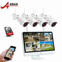 "ANRAN 15""Monitor 8CH NVR Wireless Security Camera 1TB Outdoor 1080P HD Home CCTV"