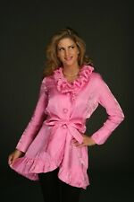 Fashion Women pink ruffled collared Jacket Coat, button front Top Coat Outwear M