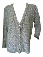 Tommy & Kate Ladies Womens Chain Detail Sequin Cardigan Grey/Cream Size 16/18
