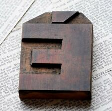 "letter: È rare wide wood type 3.54"" woodtype font letterpress printing block"