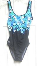 Cute Speedo One-Piece Swimsuit Bath Size 8 Black teal blue white Solid Floral
