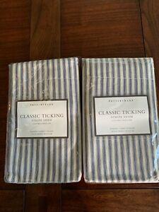 Pair Set of 2 Pottery Barn Classic Ticking Stripe Standard Pillow Shams Navy NEW