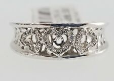 Hand Ring Promise Ladies Engagement Pave White Gold Diamond Heart Fashion Right