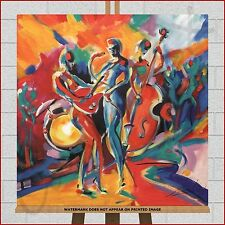 Abstract Canvas Large Framed Box Print Picture Jazz Sax Bass Guitar Music Band