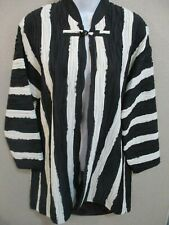 C'est Duo by Casablanca Dressy Crinkle Stripe Long Coat Size Small Lined 3/4 Slv