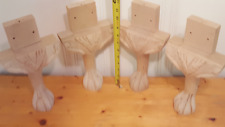 "Unfinished Queen Anne Wood Legs 11"" tall 6 "" wide Table Stool Chair Set of 4 NEW"