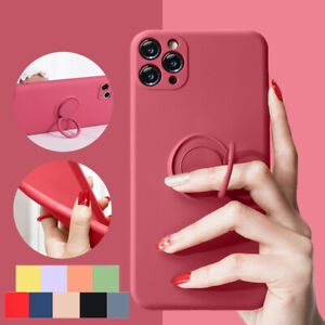 Liquid Silicone Protective Ring Holder Case For Apple iPhone 11 12 Pro Max Cover