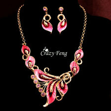 Crazy Women's18k Gold Plated Crystal Enamel Necklace Earrings Party Jewelry Sets