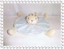M - Doudou  Semi Plat Rond Chat Tigre Lion Bleu Beige Kimbaloo