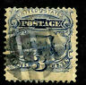Sc #114 Grill Misperf Fancy Cancel  3 Cent Locomotive 1869 Pictorial US 3A25