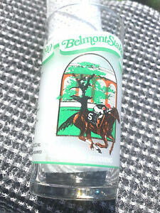 lot (2) BELMONT STAKES 1990 SOUVENIR GLASSES 122 nd RUNNING horse racing