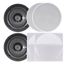 "Pyle 6.5"" Wall/Ceiling Dual Stereo Speakers, 200 Watt, 2-Way, Flush Mount, White"