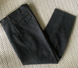 VTG LL Bean Thick Wool Hunting Suspender Pants Plaid 36 X 33~ Nice!