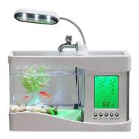 Home Aquarium Small Fish Tank USB LCD Desktop Lamp Light LED Clock White E8D3