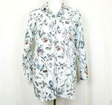 Gap Body Womens Sleep Shirt SP Small Petite White Floral Long Sleeve Button Down