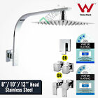 "Bathroom 8/10/12"" Square Shower Head Gooseneck Wall Arm Mixer / Twin Taps Set"