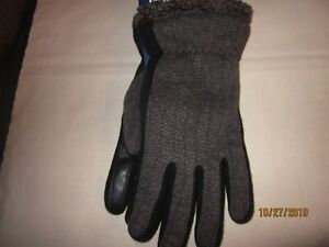 new MEN'S winter gloves ISOTONER smart touch GRAY polyester ACRYLIC black XL