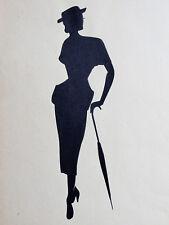 Scherenschnitt elegante Modedarstellung Kostüm, Hut, Schirm 40er Jahre