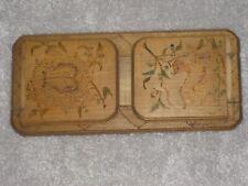 Vintage Wooden Book Slide / Stand - Poker Work Griffin Design