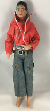 Michael Jackson Doll Vintage Red Jacket Blue Jeans Barbie Size Jointed Asis HELP