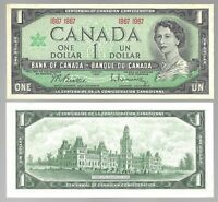 Canada One 1 Dollar $1 (1867-1967) Almost UNC  Banknotes