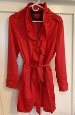 Elle Red Jacket Full Zip Ruffled Women's Size Medium