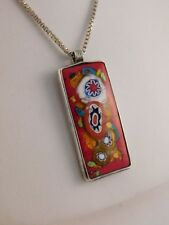 MILLEFIORE ART GLASS STERLING PENDANT NECKLACE RED COLORFUL