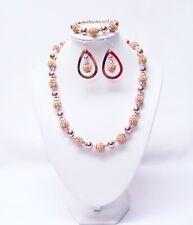 Rose Gold Rhinestone Ball Bead Necklace/Bracelet/Earrings Set