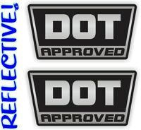 2 < REFLECTIVE > DOT Approved Motorcycle Helmet Stickers  Decals Labels D.O.T.
