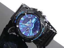 Casio G-Shock GA-110HC-1A Ana-Digi Glossy Black and Hyper Blue Purple Watch