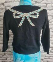 Topshop Black Angora blend Cardigan ribbon lace back detailing 10 uk