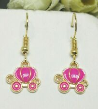 New Yellow Gold Plated Enamel Cinderella Pumpkin Carriage Hook Dangle Earrings