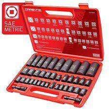 CARBYNE 40 Piece Impact Socket Set, SAE & Metric, Standard and Deep Sockets, ...