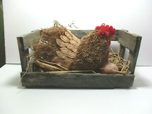 NOVELTY CHICKEN WITH EGG IN A VINTAGE BOX - LOVELY DISPLAY FOR HOME OR SHOP