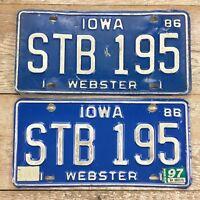 1986 Iowa License Plate, STB 195, Blue White, Pair Set, Embossed, vintage plates
