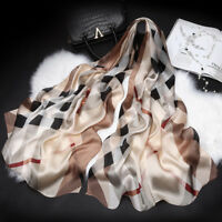 "100% Pure Silk Scarf Women Large Long Scarf Shawl Check Style 71""*26"""