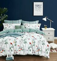 Floral & Green Stripes Bedding Set:1 Duvet Cover 2 Pillow Shams Queen/King/Cal K